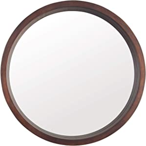 Beauty4U Circle Mirror with Wood Frame, Round Modern Decoration Large Mirror for Bathroom Living Room Bedroom Entryway, Walnut Brown, 20