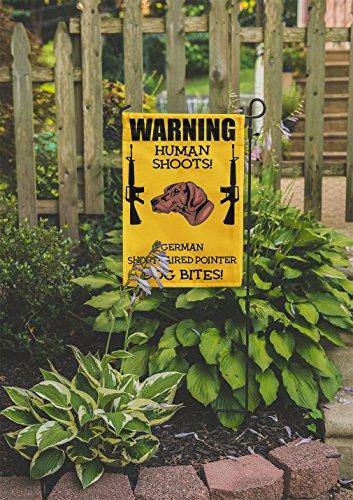 Human Shoots GERMAN SHORTHAIRED POINTER DOG Bites Yard Patio House Garden Flag & Garden Pole 10 1/2'' x 16'' by Fastasticdeals (Image #1)'