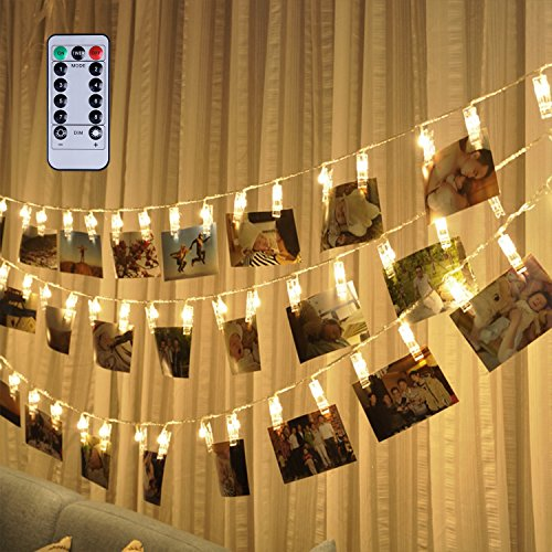 [Remote & Timer] 16 Feet 40 LED Photo Clip String Lights(Warm White) - 8 Modes Choice Battery Operated Photo Clips - Perfect for Hanging Pictures, Notes, Artwork