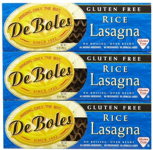 De Boles Gluten-Free Rice Pasta Lasagna, 10 oz, 3 pk (Pasta Gluten Free Deboles)