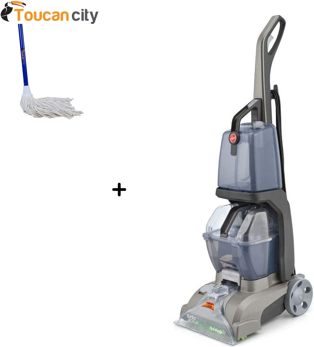 Toucan City String Mop and Hoover Turbo Scrub Upright Carpet Cleaner FH50134