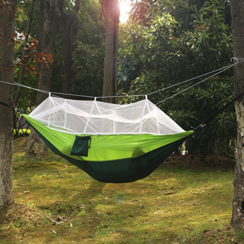 Dollar Net (Carryon Nylon Camping Hammock with Mosquito Net - Extra Tree Straps Hammock - Portable with Bug Net - Outdoor Travel Indoor Camping Hiking Backpacking Backyard)