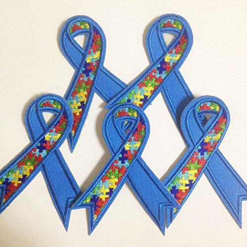 Set of 10 pcs Autism Awareness ribbon Iron On Sew On Cloth Embroidered Patches Appliques Machine Embroidery Needlecraft Sewing projects]()
