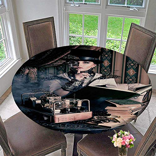Modern Table Cloth ePortrait of Steampunk Woman with Medieval Vintage Style Outfit Historic 50