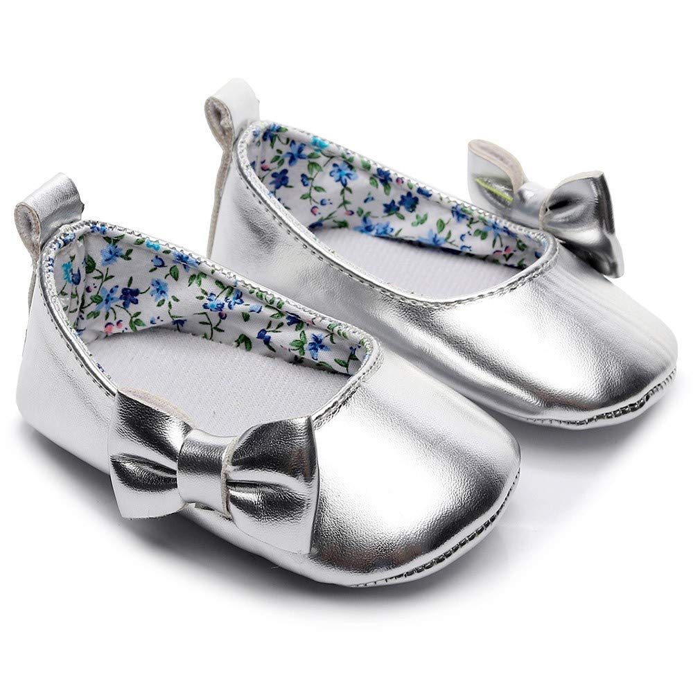 Lanhui Newborn Single Shoes Toddler Baby Girls Shallow Bowknot First Walkers Soft Sole Silver by Lanhui (Image #5)
