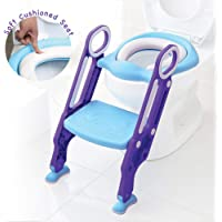 Baby Toddler Kids Potty Toilet Training Seat with Step Stool - Soft Cushion - Adjustable Footrest - Sturdy Design - Foldable - Portable - for Boys and Girls
