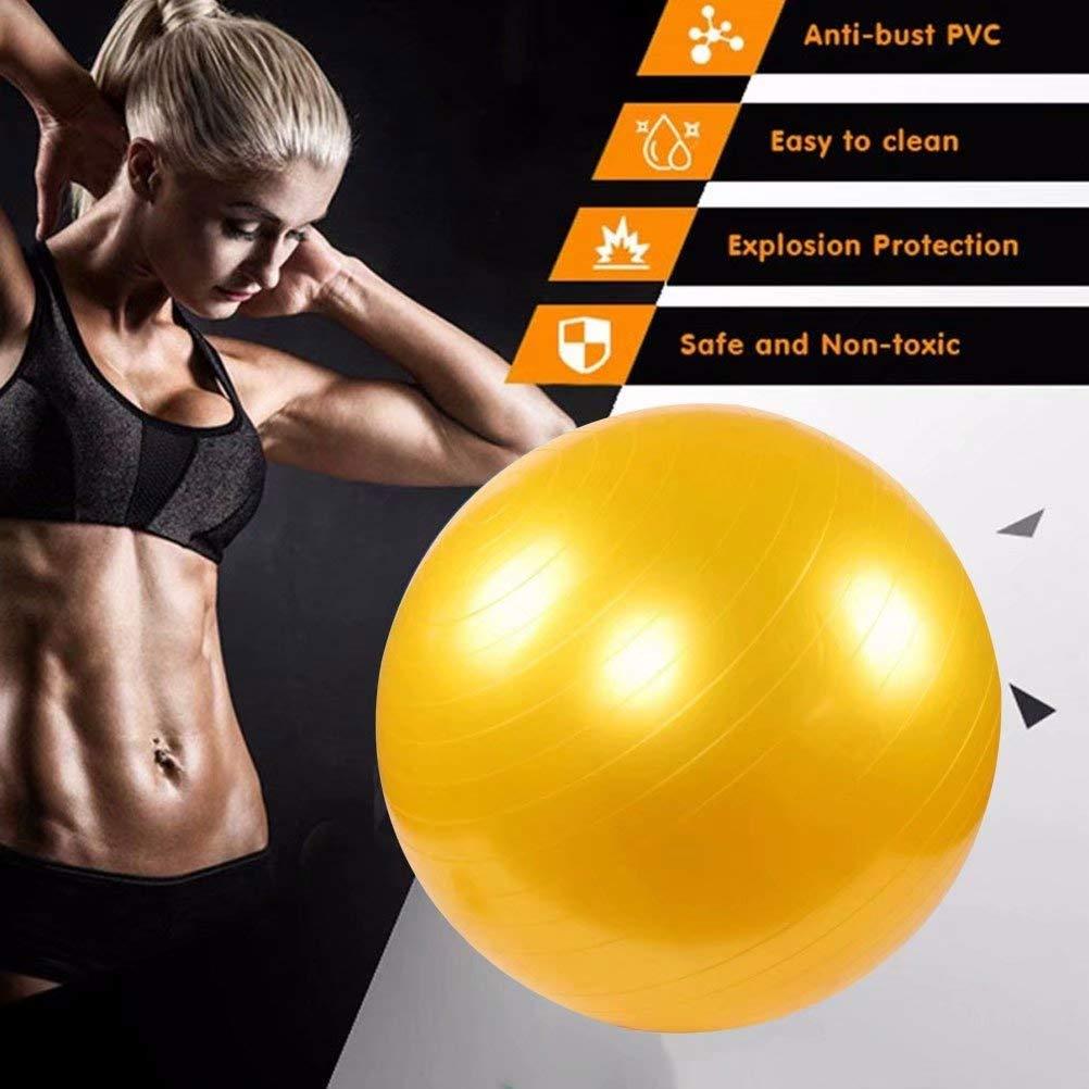 Balance,Gelb-55cm 10 Farben FLYWM Gymnastikball ?Dynamic Ball? inkl Fitness-Ball Pilates-Ball berstsicher Pumpe Yogaball 25cm-105cm Sitzball