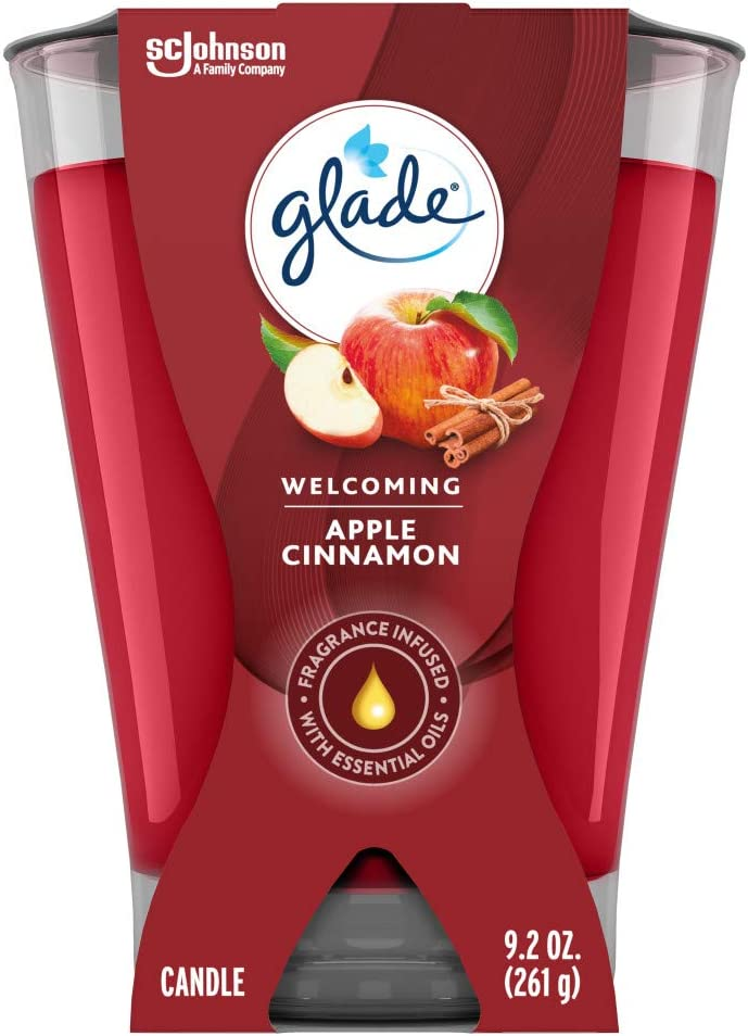 Glade Large Jar Candle, Apple Cinnamon, 9.2 Ounce