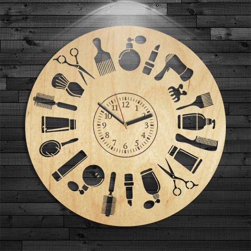 Wall Clock Vintage, Barbershop Clock, Barbershop Gift Men, Wall Clock Modern, Gift Woman, Barbershop Wooden Clock, Beauty Birthday Gift, Barbershop Wood Clock, Hairstyle Gift Boy Handmade