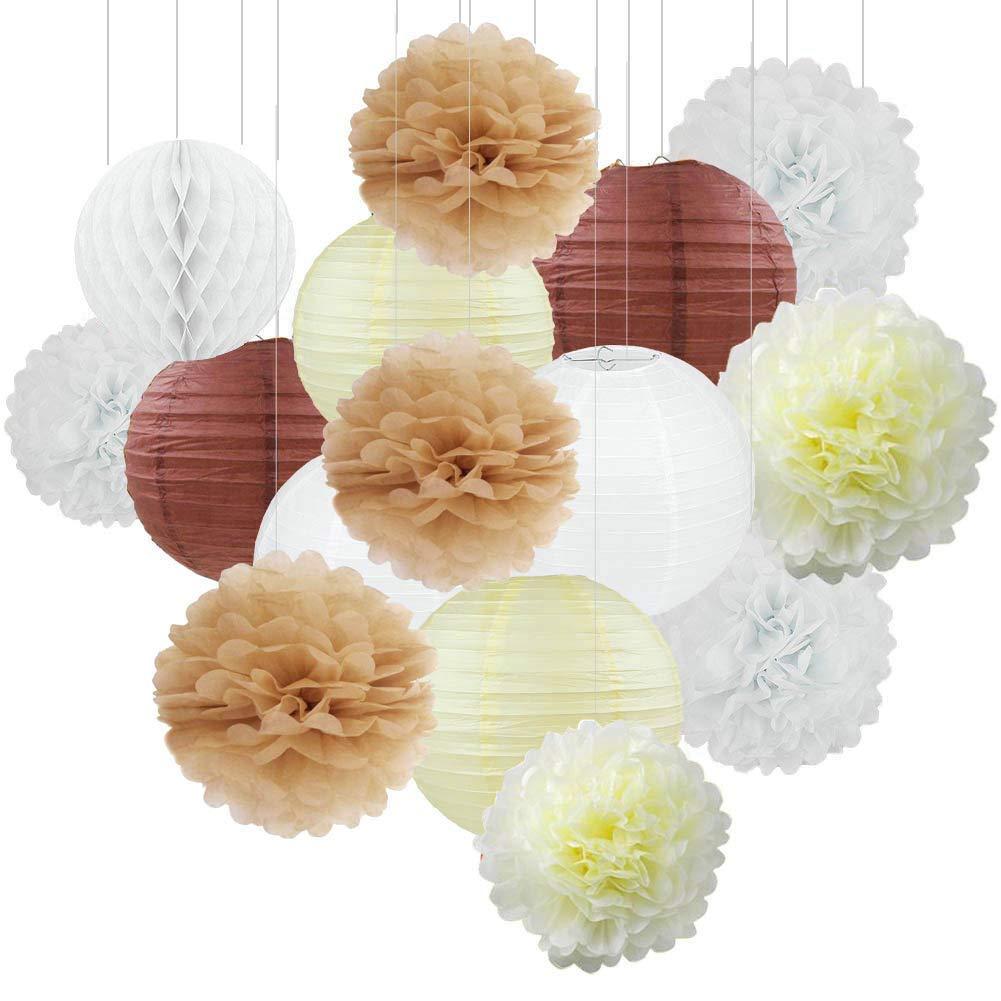 15 ST/ÜCKE Creme Tan Wei/ß Party Papier Kit Tissue Pom Poms Papierlaterne Honeycomball Rustikale Hochzeit Vintage Baby Shower Kindergarten Dekoration
