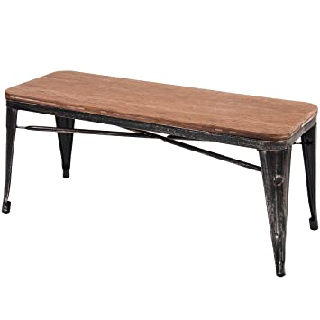 Merax Stylish Distressed Dining Table Bench With Wood Seat Panel And Metal Legs Golden Black
