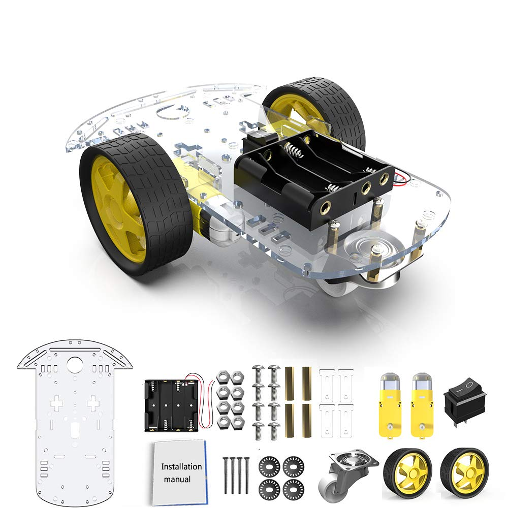 diymore 2WD Roboter Smart Auto Chassis DIY Kits Intelligente Motor mit Tracking Geschwindigkeit und Tacho Encoder 65x26mm Reifen für Arduino Raspberry Pi(2WD)