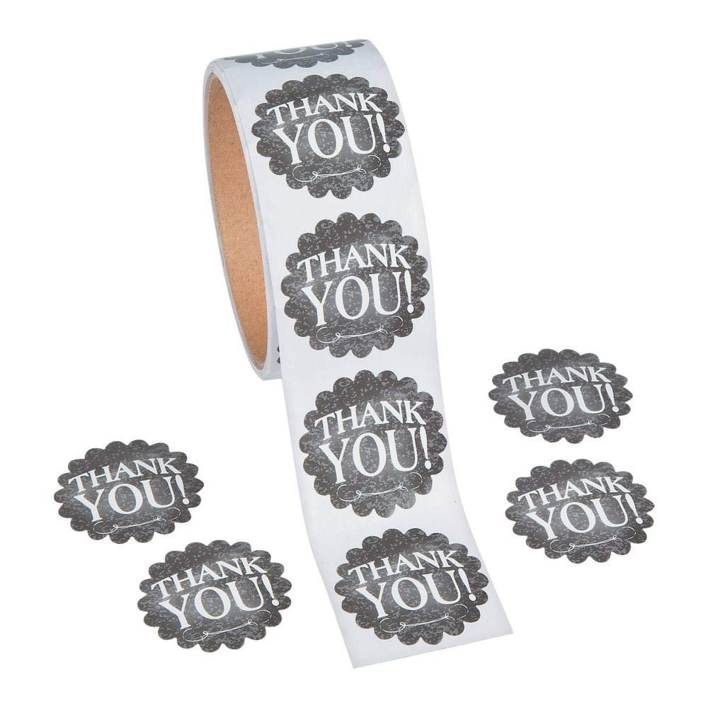 FX 1 Roll ~ Thank You Chalkboard Theme Stickers ~ 100 Round 1.5