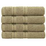 Maximum Absorbency and Softness, 100% Ring Spun Genuine Cotton, 13x13 Inches Turkish Washcloth Set of 4 for Face, Hand, Gym, Kitchen, Cleaning, Bar, and Restaurant by American Soft Linen, Sand Taupe