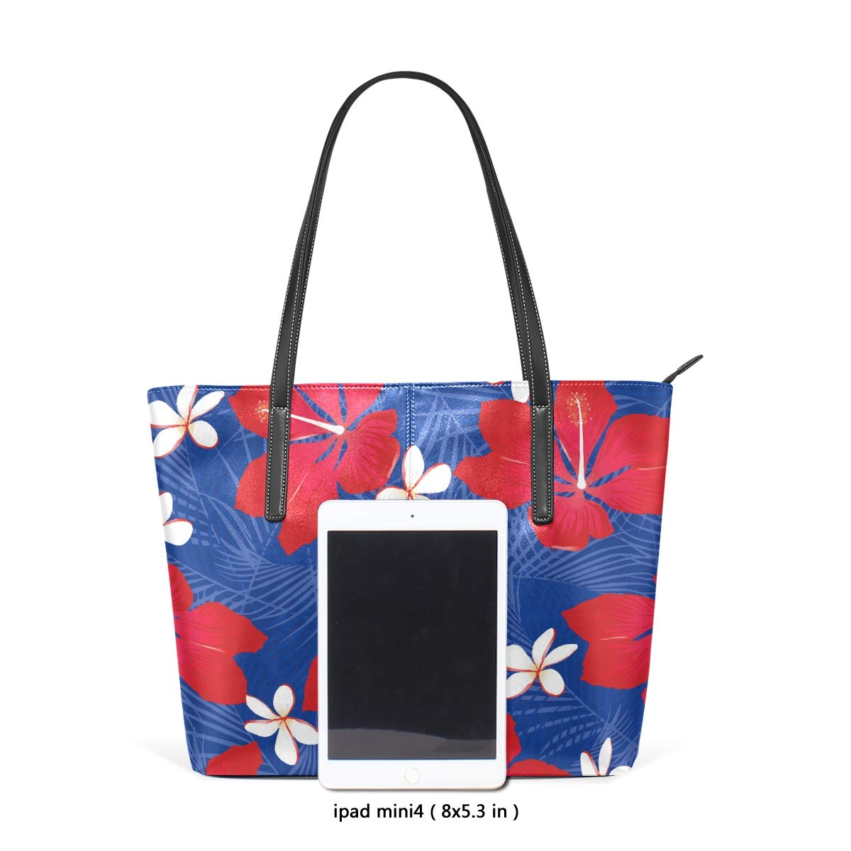 11d7326a7ec5 Blue Tropical Palm Leaves With Hibiscus Flowers Women's Soft Leather ...