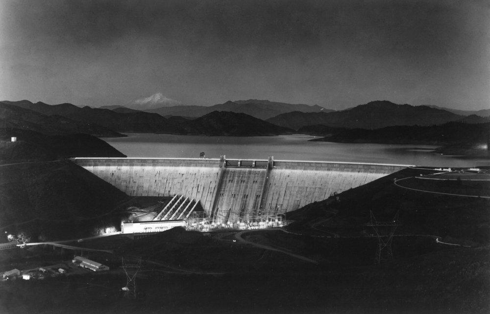 湖シャスタ、カリフォルニア – VistaポイントのビューDam at night 36 x 54 Giclee Print LANT-12186-36x54 36 x 54 Giclee Print  B01M30N4PK
