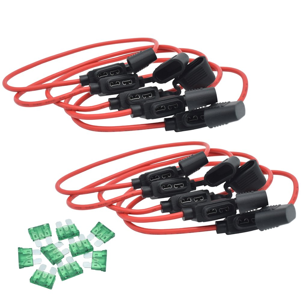 JooFn Inline Fuse Holder 12AWG Wiring Harness ATC / ATO 30AMP Blade Fuse Automotive Fuse Holder with Waterproof Cover 10 Pack