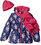 Pink Platinum Little Girls' Floral Print Puffer With Hat and Scarf, Navy, 4