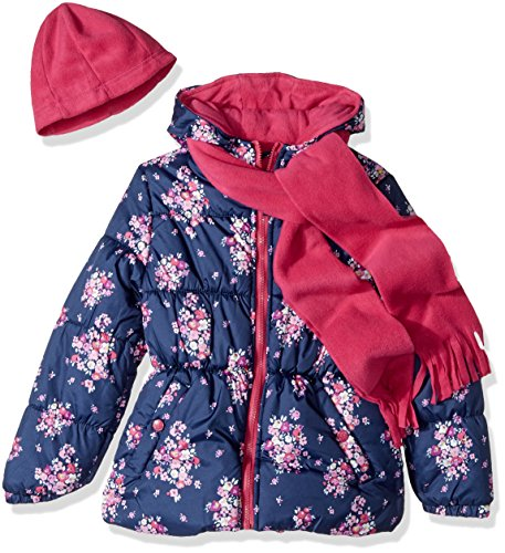 Pink Platinum Little Girls' Floral Print Puffer With Hat and Scarf, Navy, 6X