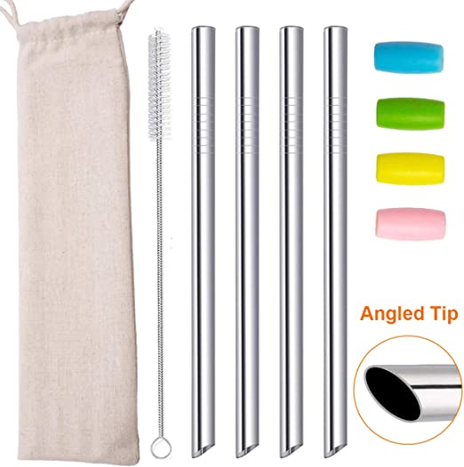 Extra Wide Reusable Metal Straws 5Pcs Milkshakes Jumbo Stainless Steel Boba Straw 12mm for Bubble Tea Drinks with 2 Cleaning Brushes