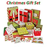 Christmas Gift Wrapping set, Includes gift boxes, tissue, tags, gift card holders, gift tags, 67 Pcs, By 4E's Novelty,