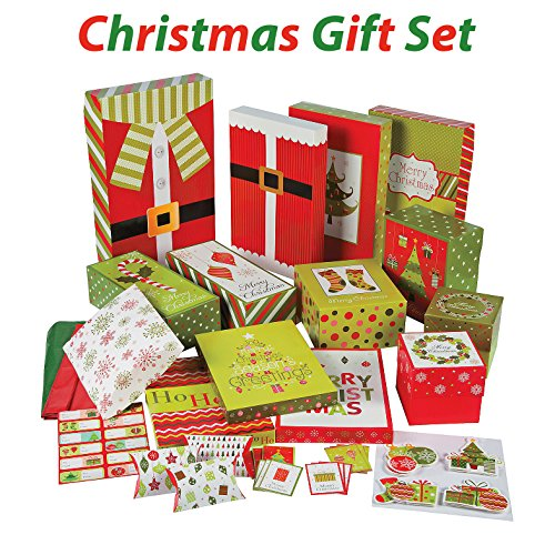 Large Product Image of Christmas Gift Wrapping set, Includes gift boxes, tissue, tags, gift card holders, gift tags, 67 Pcs, By 4E's Novelty,