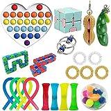 KKPLZZ Newest Upgrade Sensory Fidget Toys Set, 21pcs Stress Relief Toys Pack with Geometry Rainbow Pop Toy, Squeeze…