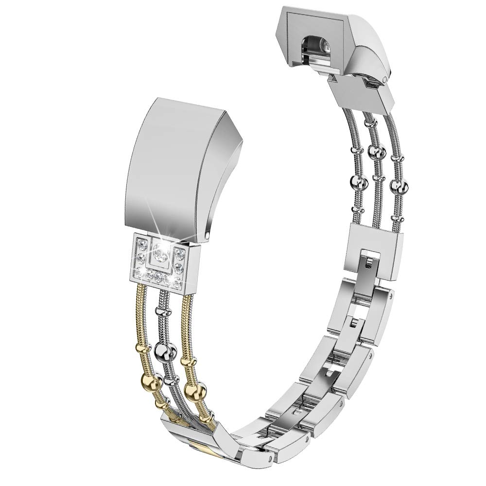 Wearlizer Compatible with for Metal Fitbit Alta Bands for Women Small Fitbit Alta hr Women Metal Replacement Bands Accessories Straps Bracelet Bangle Wrist Bands Small Large (Gold+Silver) by Wearlizer