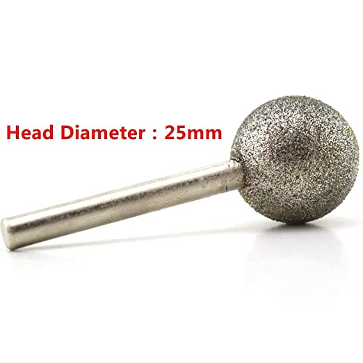 JOINER 28 mm Dia Spherical Head Diamond Grinding Bit Coated Mounted Points Round Ball Burs Grit 80 Shank 6mm Coarse Tools for Stone