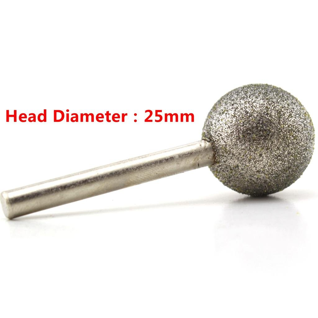 ILOVETOOL 25 mm Dia Spherical Head Diamond Grinding Bit Coated Mounted Points Round Ball Burs Grit 80 Shank 6mm Coarse Tools for Stone