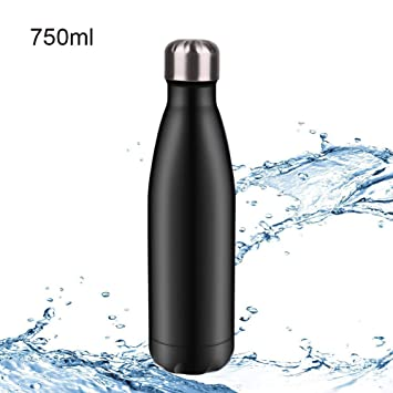 Hootracker Vacuum Insulated Stainless Steel Sports Water Bottle Leakproof 750ml for Outdoor Sports Riding Cycling Camping Hiking-Black