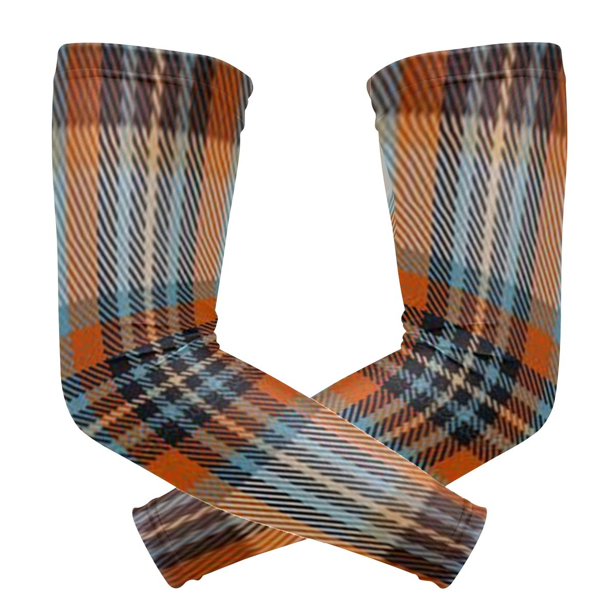 Arm Sleeves Colorful Plaid Mens Sun UV Protection Sleeves Arm Warmers Cool Long Set Covers