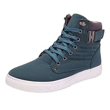 becaf1caf4 Amazon.com  Hot Male Fashion Spring Autumn Men Casual High Top Shoes Canvas  Sneakers Leather Shoes