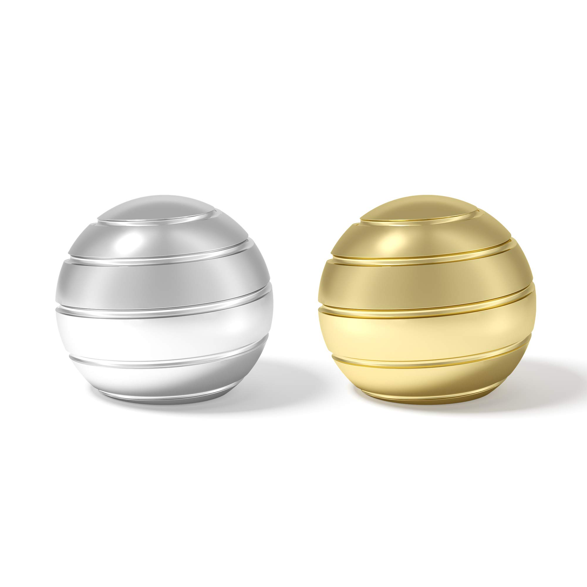 Kinetic Desk Toy Mezmeglobe With Prime Ball Bearing Provide Decoration or Pleasure Relieve Stress or Inspire Creativity (Silver Gold)