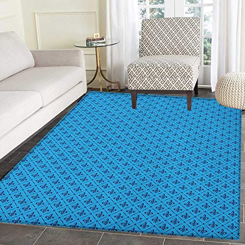 Fleur De Lis Area Silky Smooth Rugs Diagonal Lines Rectangle Frames Traditional Abstract Lily Shape Monochrome Floor Mat Pattern 2'x3' Blue Dark Blue