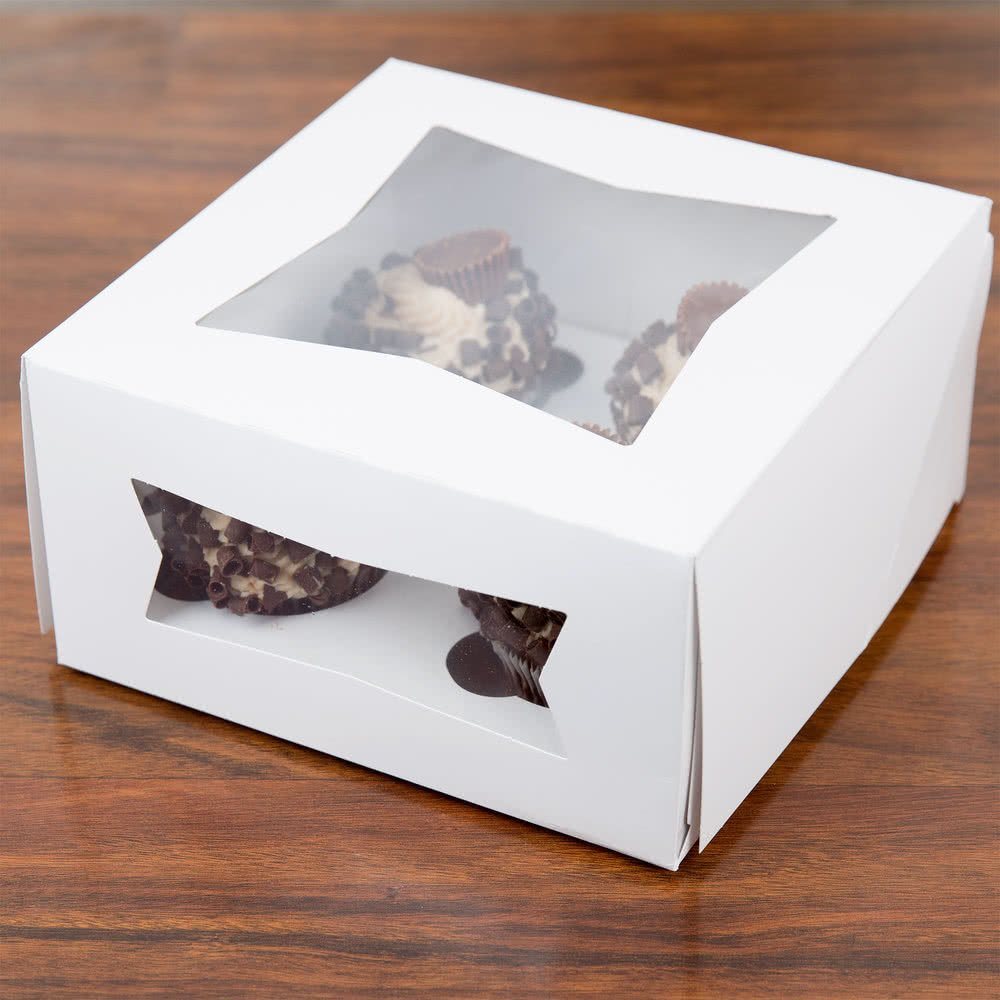 Pack of 10 Cupcake Box 8x8x4 with Window holds 4, Inserts Included w/Signature Party Picks   B071XR955Q