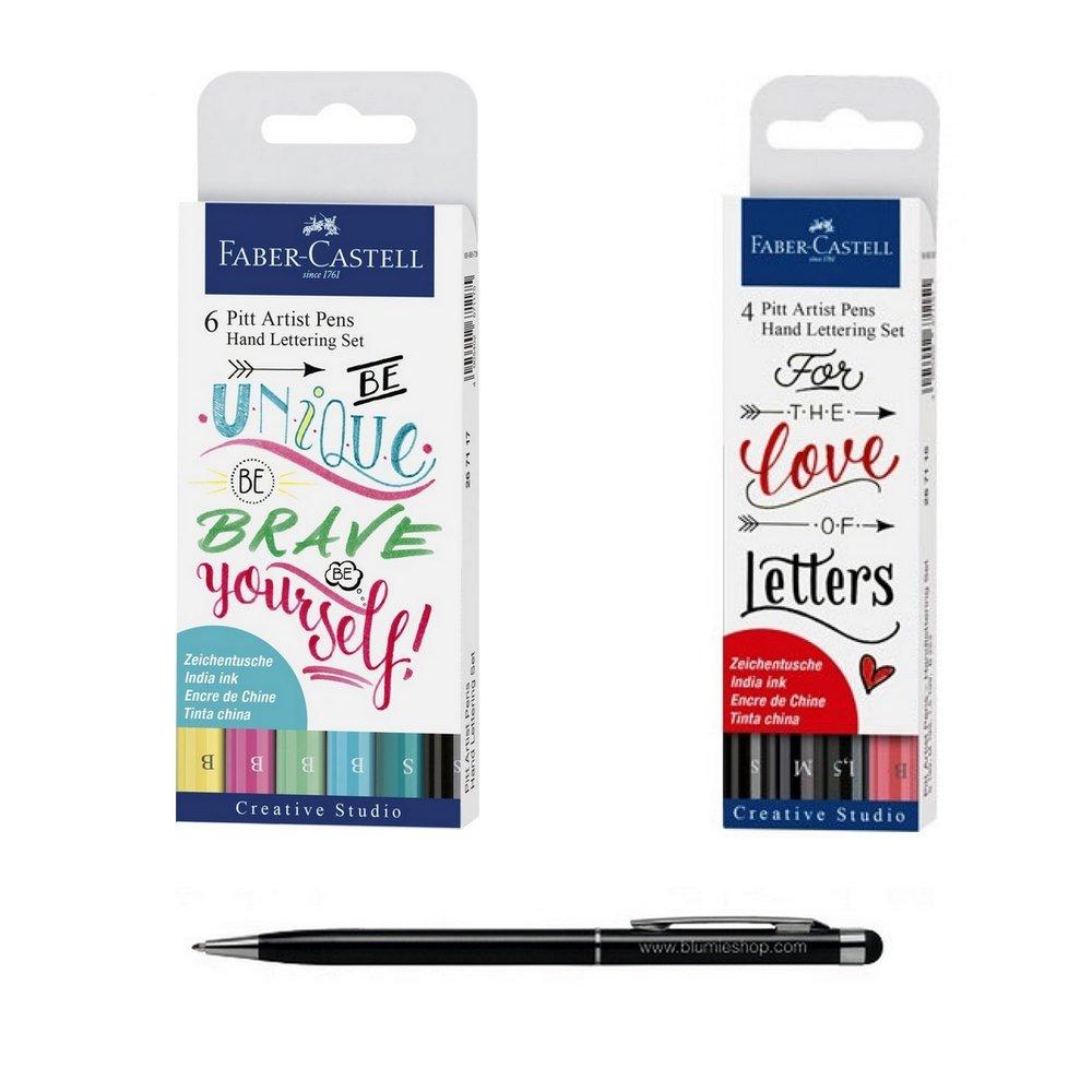 Set 2 Tasche Faber Castell: set 4 Pennarelli PITT Artist lettering NERO E ROSSO + Set 6 pennarelli Pitt Artist lettering pastello + 1 Penna Stylus Touch blumie Blumie Shop