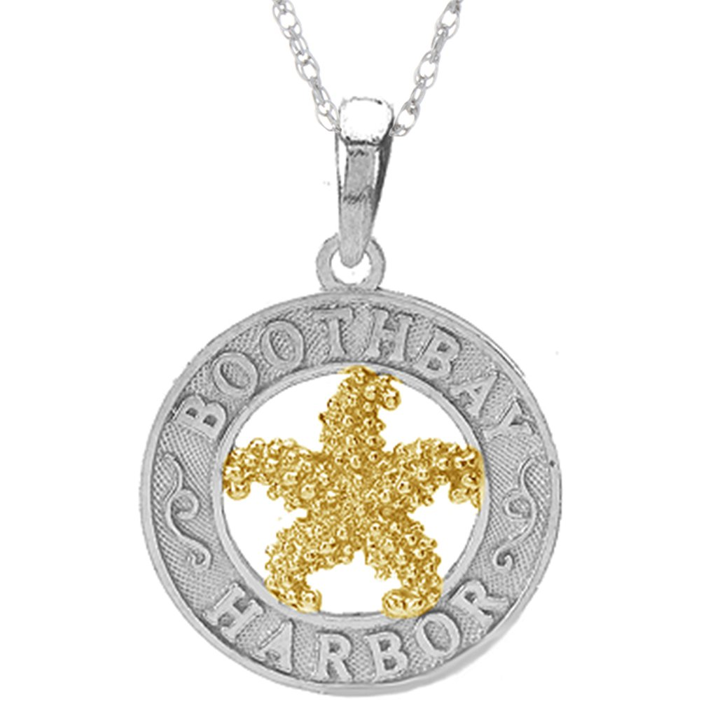 925 Sterling Silver Travel Charm Pendant with 18 Inch Chain, Boothbay Harbor, On Round, 14k Gold Starfish Center by Million Charms