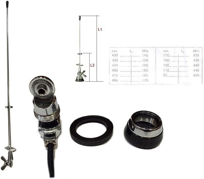 pdbx Antena Bibanda veicolare VHF-UHF de acero tarabile 145/170 – 430/450 MHZ