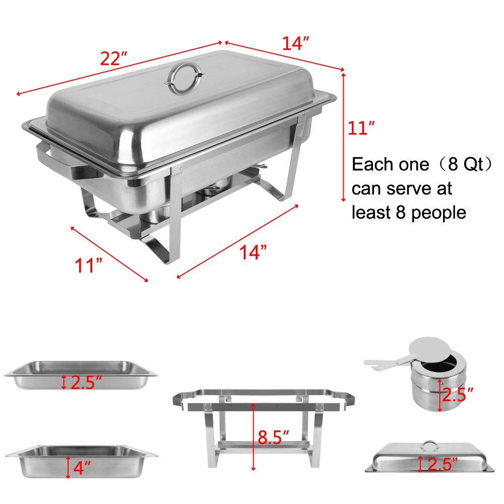 ROSVUN Upgraded Stainless Steel Chafing Dish Buffet Silver Round Catering Warmer Set with Food and Water Trays, Mirror Cover, Thick Stand Frame for Kitchen Party Banquet (2 Round+ 2 Rectangular) by ROVSUN (Image #7)