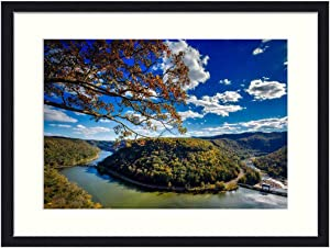 OiArt Wall Art Print Wood Framed Home Decor Picture Artwork(24x16 inch) - West Virginia Horseshoe Bend River New River Fall