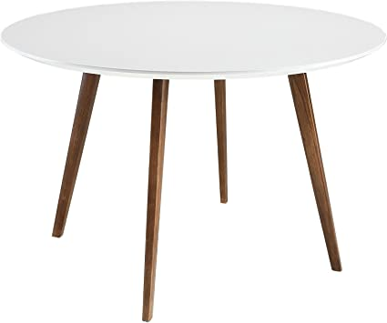 Amazon Com Modway Platter 47 Mid Century Modern Round Kitchen And Dining Table In White Tables