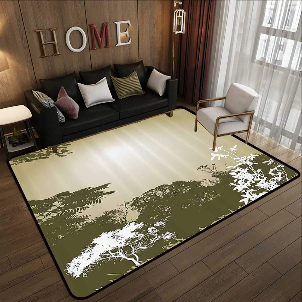 Pattern08 71 x 81.5 (W180cm x L210cm) Kids Rugs,Tree,Watercolor Style Effect Plum Trees with Branches and Leaves Pattern,Reseda Green Earth Yellow 71 x 106  Slip-Resistant Washable Entrance Doormat