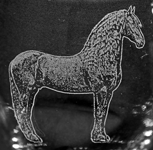 Muddy Creek Reflection Fresian Horse Laser Etched Can Glass Set (4, BCG)