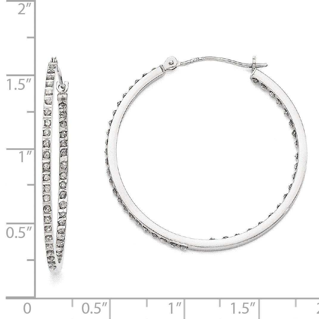 Roy Rose Jewelry 14K White Gold Diamond Fascination Round Hinged Hoop Earrings ~ 36mm length by Roy Rose Jewelry (Image #2)