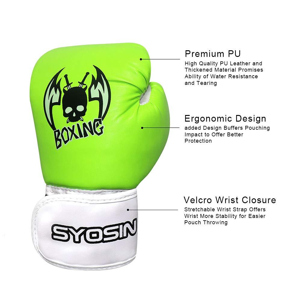 SYOSIN Kids Boxing Gloves 4oz PU Leather Children Cartoon Boxing Kickboxing Training Gloves Junior Punch Bag Muay Thai Mitts