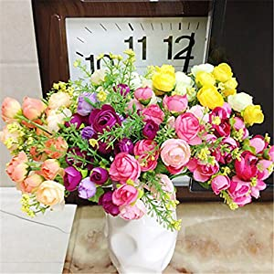 JJH 1 Branch Polyester Plastic Camellia Tabletop Flower Artificial Flowers 79