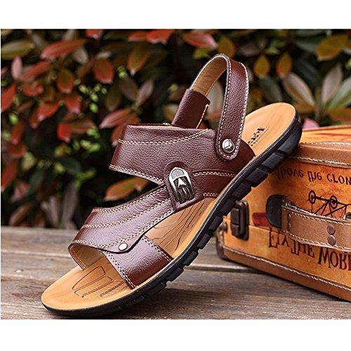 Männer Sandalen Männer Echtleder Das neue Strand Schuh Jugend Sommer Trend Schüler Sandalen Freizeit Schuh ,braun ,US=9.5,UK=9,EU=43 1/3,CN=45