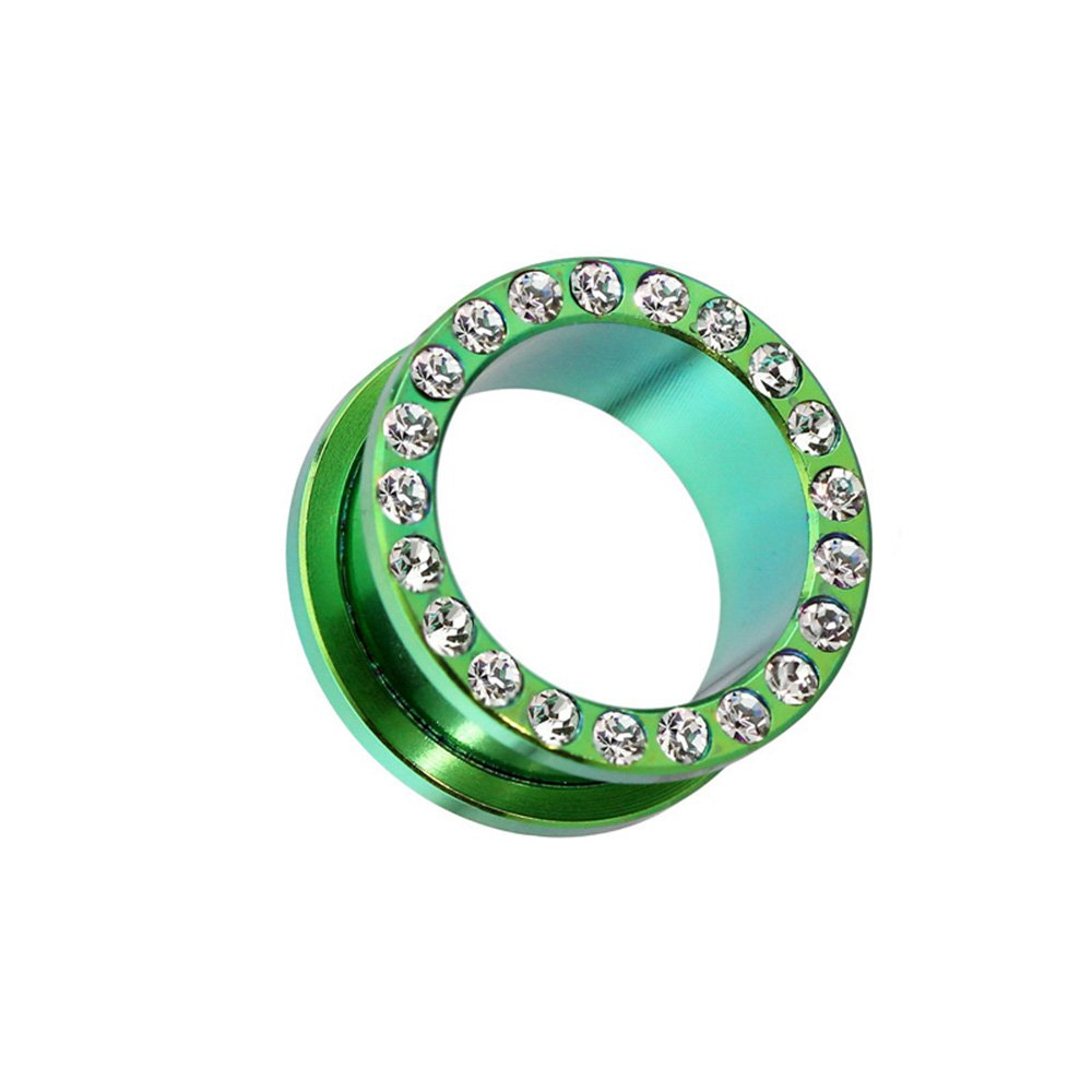 Dynamique Pair Of Screw Fit Tunnels Gem Paved Rim Green PVD Plated 316L Surgical Steel