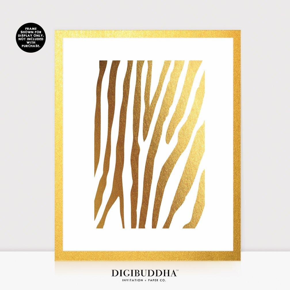 Amazon.com: Zebra Print Gold Foil Decor Animal Print Metallic Wall ...
